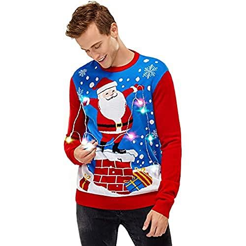 U LOOK UGLY TODAY Chandail de Noël Lumineux, Chandail de Noël Clignotant Drôle, Chandail de Noël pour Homme, Chandail à Manches Longues pour Noël
