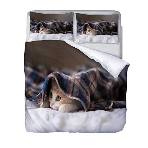 LiYiAT Double Duvet Covers Set 3D Printed Ultra Soft Hypoallergenic Easy Care Bedding Quilt Cover Shy Kitten Microfibre 3 Pieces 2 Pillowcases for Double Bed with Zipper Closure(200X200cm)