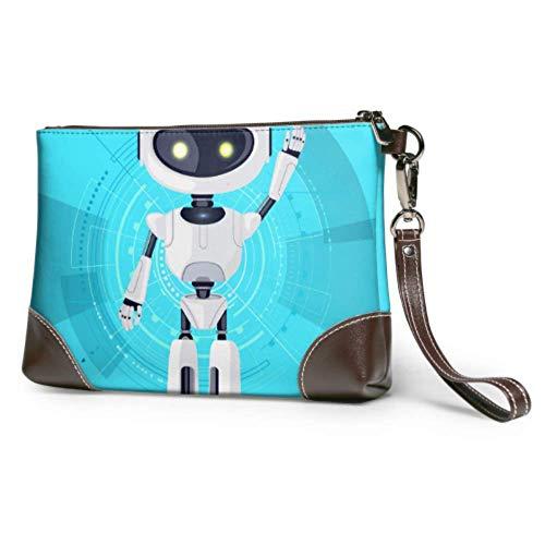 Bolso de embrague de cuero suave impermeable personalizado bolso de embrague tecnológico robot moda pulsera cartera con cremallera para mujeres niñas