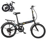 BRADEM 20in 7 Speed Mini Bike Folding Bikes for Men Women Adult BMX Bikes Lightweight Urban Commuters (Black)