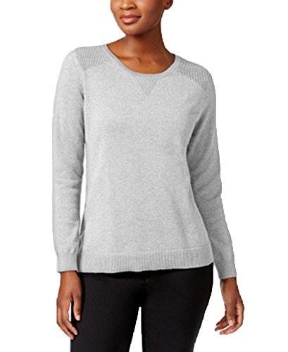 Price comparison product image Karen Scott Cotton Side-Slit Sweater (Smoke Grey Heather,  XL)
