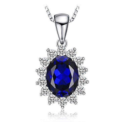 JewelryPalace Ovale 3.2ct Principessa Diana William Kate Middleton's Sintetico Blu Zaffiro Pendente 925 Sterling Argento Pendente Collana 45cm