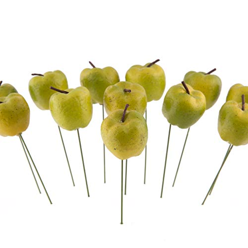 Rosemarie Schulz GmbH Deko Äpfel Klein zum Stecken Apfel 12 Stück Grün Kunstobst künstliches Obst Dekoration Ø 2 cm Weihnachtsdeko Herbstdeko