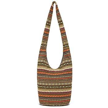 Women Hand Fashion canvas Hippie Crossbody Bags Cotton Bohemian Animal Prints Hobo Bags  Grey