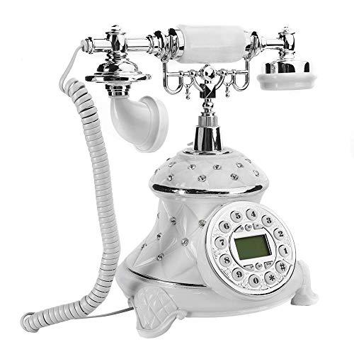 LDDZB Teléfono casero Retro Antiguo, teléfonos con Incrustaciones de Diamantes de imitación Blancos para el Escritorio de Oficina en casa