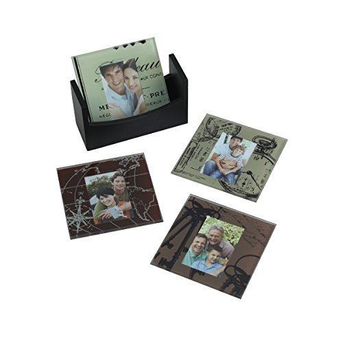 Melannco Maps and Drawings Photo Coasters (Set of 4)