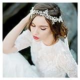 tggh Brautkrone, handgefertigt, silberfarbenes Perlen-Stirnband, Blatt-Kopfschmuck, Brautschmuck, Kristall-Tiara, Hochzeits-Haarschmuck (Metallfarbe: Silber-Armband)