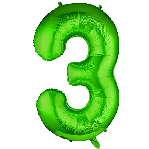 Siumir Globo de Número Verde Globo Número Grande Número 3 Papel De Aluminio Globo Decoración de Fiestas de Cumpleaños