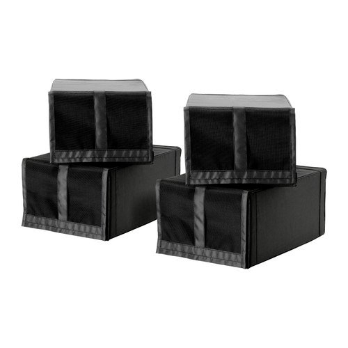 Schuh box SKUBB Hängeaufbewahrung, schwarz, 22 x 34 x 16 cm, leicht zu öffnen und Schließen des Fensters der Schuh mit einem Klettverschluss.