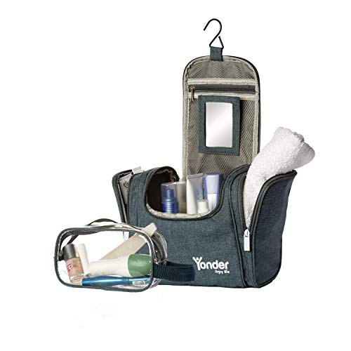 Yonder® Premium XXL Kulturtasche | Kosmetiktasche mit 8,5L Stauraum | Groß + gratis Waschtasche | Kulturbeutel für Damen & Herren zum Aufhängen