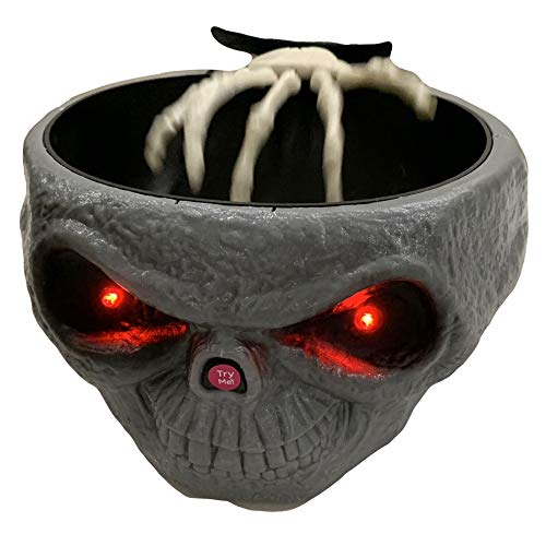 Skull Shape Red Eyes with Animated Hand Grabbing Candy Bowl