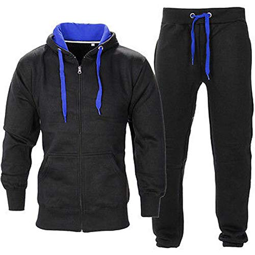 Be Jealous Herren Essentials Contrast Trainingsanzug Fleece Kapuzenpullis Jogginghose Jogginghose Gym Set - Schwarz/Königsblau, M