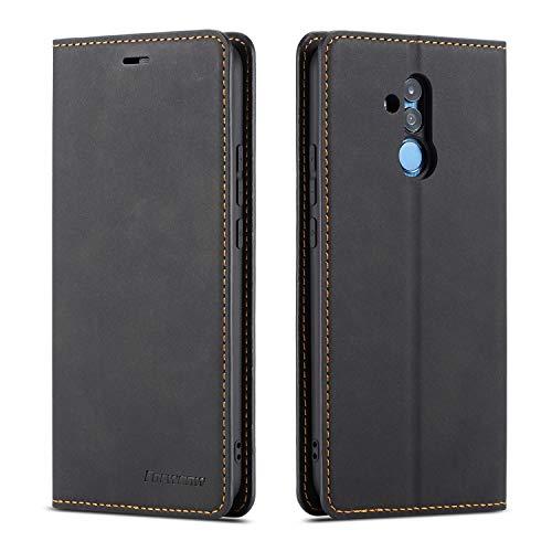 QLTYPRI Hülle für Huawei Mate 20 Lite, Premium Dünne Ledertasche Handyhülle mit Kartenfach Ständer Flip Schutzhülle Kompatibel mit Huawei Mate 20 Lite - Schwarz