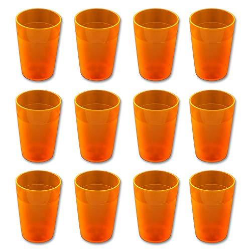 CARTAFFINI SRL n.12 Bicchieri in Policarbonato Satinati, Impilabili, Ø 7 cm/H 10 cm, capacità 250 ml - Colore: Arancione Fluo