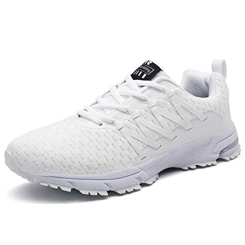 SOLLOMENSI Laufschuhe Damen Herren Sportschuhe Straßenlaufschuhe Sneaker Joggingschuhe Turnschuhe Walkingschuhe Schuhe 46 EU B Weiß
