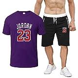 ZGRW 2021 Jordan Baloncesto Chándal de Manga Corta, 23 2 Piezas Set Adult Hombres SportPants + Camisetas de Camisetas, Ropa Deportiva Casual de Verano D-L