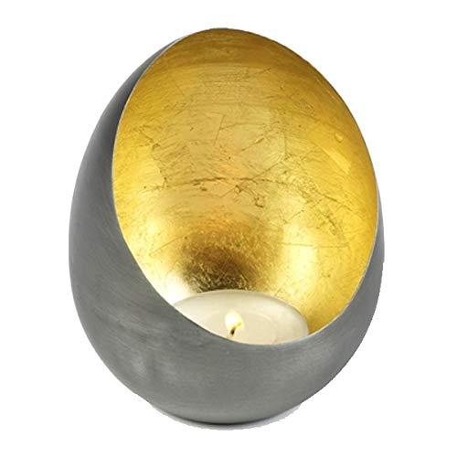 Lambert - Kerzenleuchter, Windlicht, Votivkerzenhalter - Casati - Eisen und Schlagmetall - Gold - Maße (ØxH): 11 x 14 cm