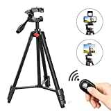 ZOMEi Phone and Ipad Tripod, Video Tripod for Cellphone,Travel Selfie Tripod for Samsung, Huawei,iPhone,Camera and Gopro with Bluetooth Remote Control Universal Smartphone iPad Stand…