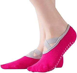 SGJFZD 3pairs/Set Yoga Socks New Ballet Crossover Edging Backless Yoga Socks Professional Non-Slip Sports Boat Socks Five-Finger Socks (Color : Rose)