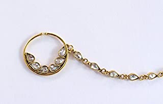 Wedding Nose to Ear Chain/Gold Bridal Nose Ring/Antique Gold Crystal Nose Ring/Bridal Nose Nath/Indian Nose Ring/NonPierced Nose Ring/Fake Nose Hoop