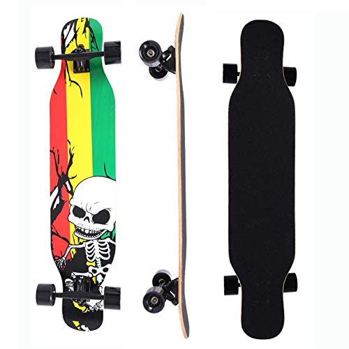 42 Inch Drop Through 9 Ply Maple Complete Longboards Skateboard,Cruising,Freeride Slide,Freestyle and Downhill Freestyle Cruiser for Teens or Adults (Multicolor)