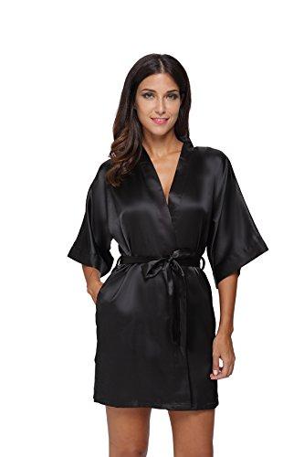 The Bund Women's Pure Colour Short Kimono Robes with Oblique V-Neck, Medium, Black
