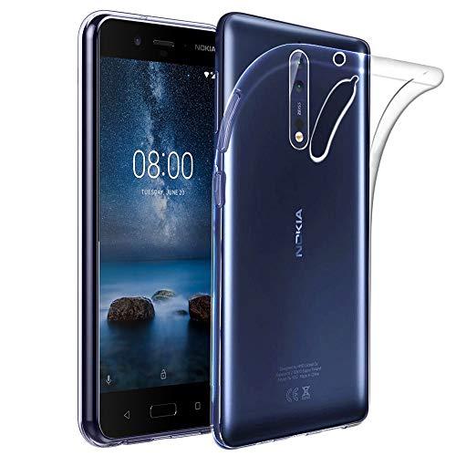 ebestStar - Cover Compatibile con Nokia Nokia 8 Custodia Trasparente Silicone Gel TPU Protezione Morbida e Sottile, Trasparente [Apparecchio: 151.5 x 73.7 x 7.9mm, 5.3'']