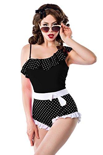 Sexy Vintage Badeanzug Rüschen Retro Muster Schwarz Weiß Schleife Rockabilly 50s, Farbe:Schwarz/Weiß;Größe:XXL