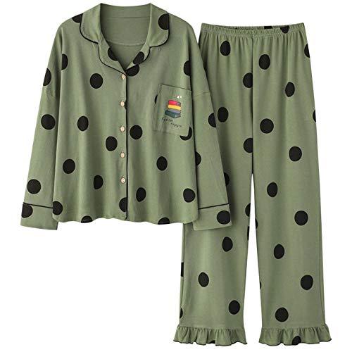 Ensembles de vêtements de Nuit d'automne 2 pièces pour Pyjamas en Coton pour Femmes à col Rabattu Homewear Plus Graisse Grande Taille XXXL Pijama Pyjama -XXXL_75-90Kg