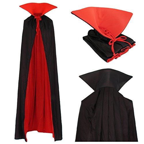 Vampiro Adultos Cuello Capa Manto Negro Rojo 170cm