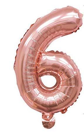 PARTY Globos de Cumpleaños - Número Grande en Color Rosa Metalizado - Fiesta de cumpleaños y Aniversarios - Gigante 105 cm - Hinchable - Tamaño XXL (6-Rosa)