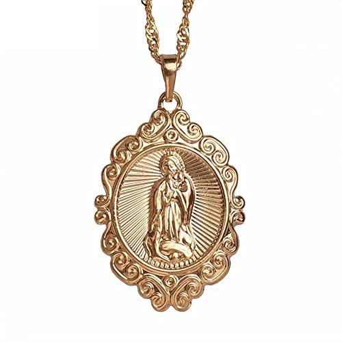 Collares Color oro rosa claro colgantes de la virgen maría de la suerte collares mujeres joyería cristiana diosa de nuestra señora-60cm Cadena fina