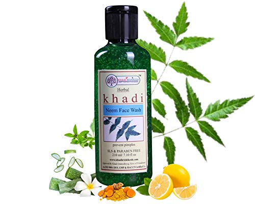 Khadi Rishikesh Herbal Purifying Neem Face Wash for acne pimple-Anti Ageing & Deep Pore Cleansing – daily use, Men & women – Paraben Free – Oily & all skin types (210 ml)