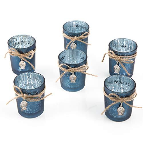 Logbuch-Verlag 6 Teelichtgläser blau maritim 7 cm mit Fisch Teelichthalter Tischdeko Tischschmuck Gastgeschenk Geburt Taufe Kommunion Sommer