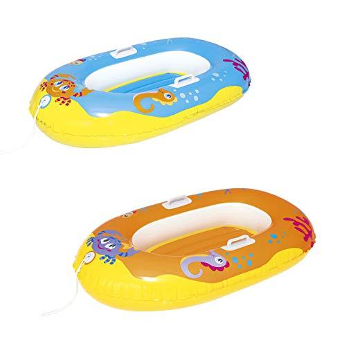 Bestway 34009 Happy Crustacean Junior Boat 135x89 cm, Kinderboot, Sortiert Badefigur, Multicolor, 1size