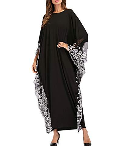 zhxinashu Abaya Kaftan Damen Muslimische Kleider - Islamische Maxikleid Arabisch Kleid Langarm Dubai Kleidung