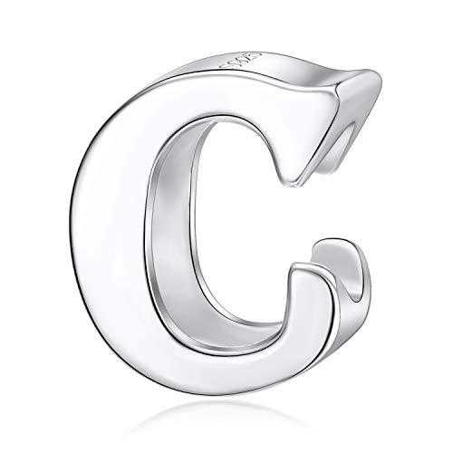 Charm con lettera dell'alfabeto, A, in vero argento Sterling adatti per braccialetti Pandora Letter C