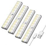 Maxuni Luz Armario Pack 4, Lámpara LED con Sensor Movimiento inalámbrico recargable por USB, Iluminación de armario LED de 3 modos, Tira de adhesivo magnético para Escalera Armario Pasillo Bodega