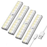 【3 Farbmodi】: Die 20 LED-Unterschrank-LED-Leuchten mit 3 Farbmodi, eine Seite ist weißes Licht und die andere Seite ist warmes Licht. So können Sie es zwischen weiß oder warm oder Kombination wechseln (weißes und warmes Licht arbeiten zusammen) durch...