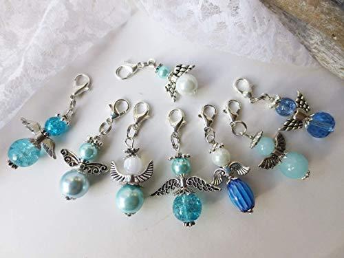 8x unterschiedliche Engel, Schutzengel, blau, türkis, weiß, silber, Geschenk, Perlenengel, Anhänger, Glücksbringer, Talisman, Geschenkidee, Taufe
