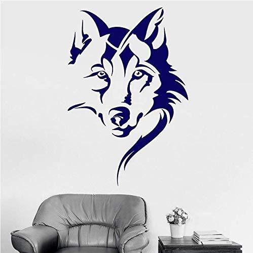 Tête De Loup Sticker Animal Tribal Art Chambre Chambre Man Cave Bar Intérieur Vinyle Autocollant De Fenêtre Détachable Cool Murale 57X38Cm