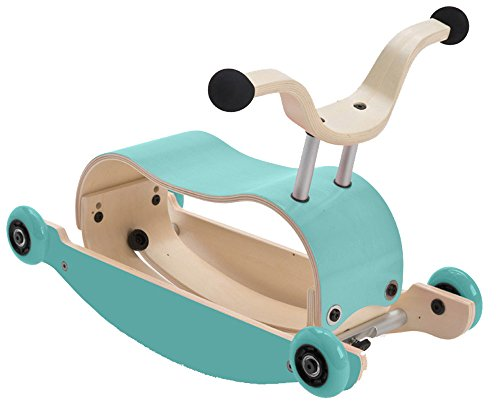 WISHBONE mini FLIP mix & match 3in1 - Laufwagen + Rutschauto + Schaukel in Farbe: Top aqua + Base aqua + Räder aqua