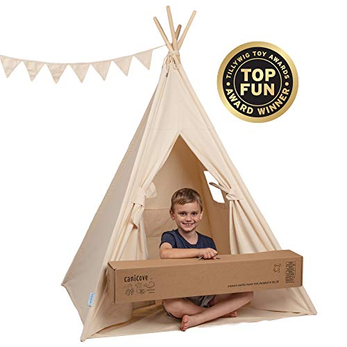 Canicove Tipi Tent zeildoek voor kinderen Wigwam: opvouwbaar binnen & outdoor set katoen wit/natuurlijke kleuren met massief houten palen & Jux vlaggen voor 2 jongens en meisjes. Machinewasbaar. natuurlijke kleuren