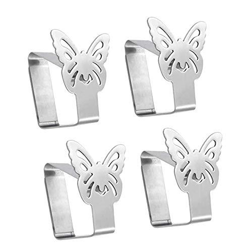 Aongray 4er-Set Tischtuchklammern aus Edelstahl, Schmetterling-Motive Tischdeckenklammer Für Tischplatten bis zu 3.5 cm Stärke,Silber Tischtuch Klammer Tischdeckenhalter 6.5 x 5 cm (6,5 x 5)