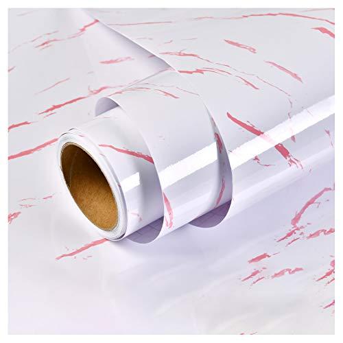ZSFBIAO Vinilo Pegatina Muebles de Cocina Vinilos Decorativos Rollo Papel Adhesivo Papel Pintado Autoadhesivo para mue bles Papel Impermeable Autoadhesivo -Hilo Rojo Spar Blanco 60cm*10m