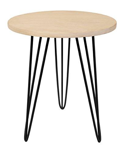 Tosel EVA, Table Ronde Pied Acier, Bois, Noir, 40 x 40 x 45 cm
