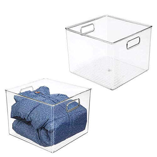 """mDesign Deep Plastic Storage Bin Box - Closet Organizer for Kids Bedroom, Bathroom, Kitchen Pantry, Home Office, Entryway, Hallway - Perfect for Shelves, Cabinets, Under Sink, 8"""" High, 2 Pack - Clear"""