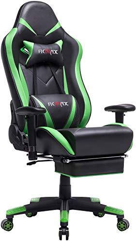 Ficmax Gaming Stuhl Ergonomischer Computer Spielstuhl Racing Stil E-Sports stuhl mit Massage Lordosenstütze, PU leder Reclining Computerstühle, Gamer Stühle mit Ausziehbarem Fußraste (Grün&schwarz)
