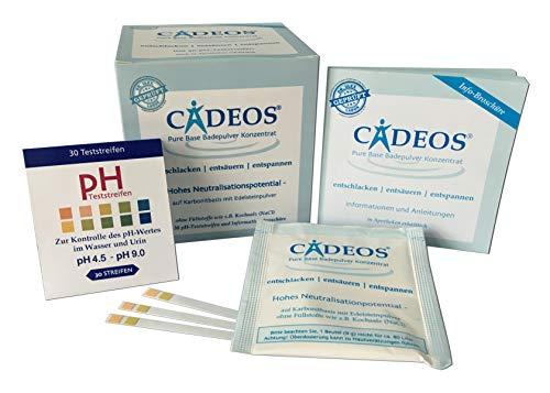 CADEOS Basisches Badesalz Konzentrat (10 Bäder) inkl. 30 Stück pH-Teststreifen und Infobroschüre