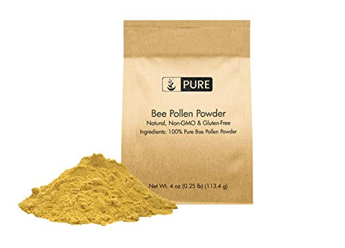 Natural Bee Pollen Powder, 4 oz, ½ TSP Serving, Premium Quality, Pure, Gluten-Free, Non-GMO, Raw, No Preservatives, Paleo, No Fillers or Additives, Eco-Friendly Packaging